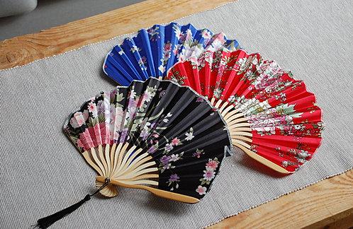 Wachlarz japoński z materiału i bambusa  - 3 kolory
