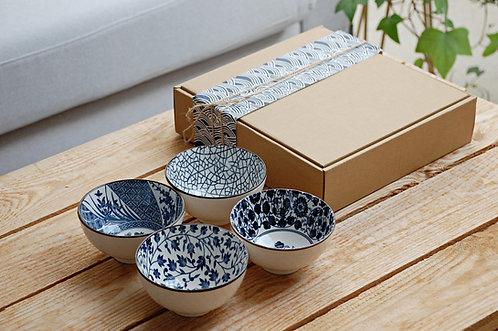 Zestaw 4 miseczek ceramicznych w stylu japońskim Qinghua