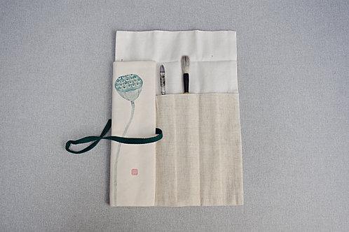 Premium eko etui na pędzle chińskie len i bawełna