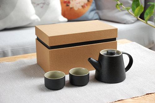 Zestaw do herbaty czarny JAPONIA w eleganckim pudełku