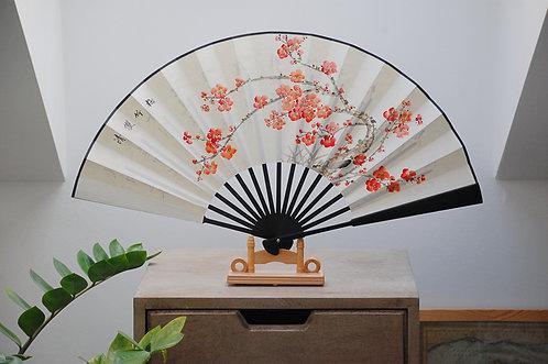 Ręcznie malowany wachlarz - Kwiat Śliwy