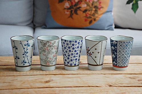 Zestaw 5 kubków ceramicznych w stylu japońskim