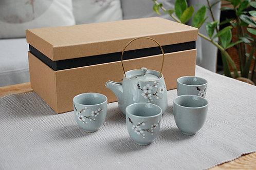 Niebiesko-szary zestaw do herbaty ZIMOWA ŚLIWA