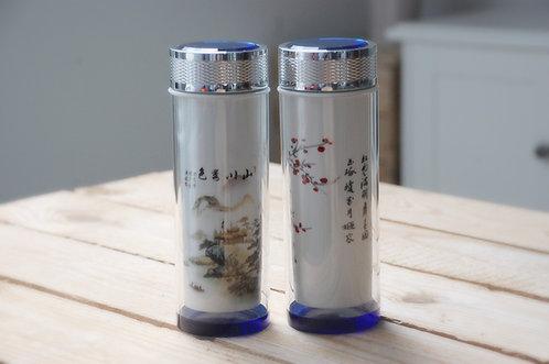 Szklany termos do herbaty w etui