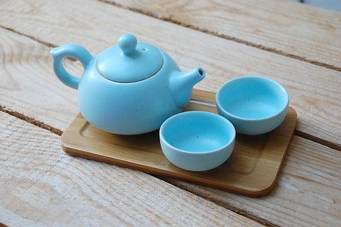 Ceramiczny komplet do herbaty niebieski w pudełku