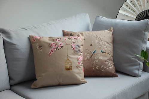 Poszewki na poduszki chińskie wzory - kwitnące drzewa