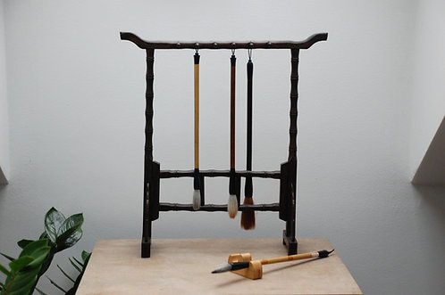 Ozdobny drewniany wieszak na pędzle do kaligrafii BAMBUS
