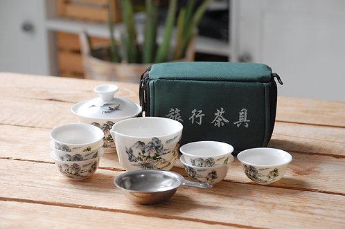 Podróżny komplet do herbaty z ceramiki chińskiej (mały) wzór krajobraz