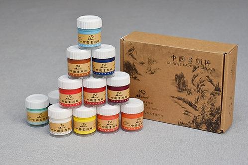 Farby do malarstwa chińskiego 12 kolorów 22 ml w słoiczkach