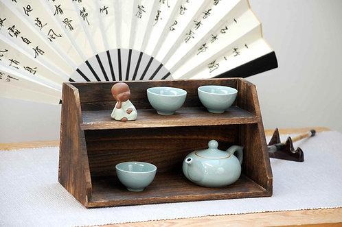 Chińska drewniana półka, szafka na ceramikę, herbatę I