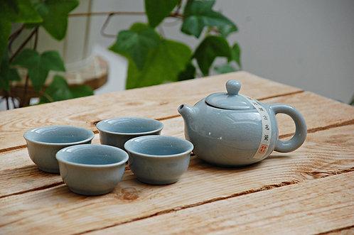 """Niebieski komplet do herbaty """"Ge Yao"""" w pudełku czajniczek + 4 czarki"""
