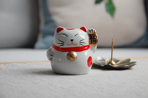 Kot szczęścia witający skarbonka maneki-neko SZCZĘŚCIE