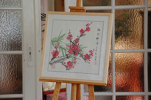 Chiński obraz ręcznie malowany Xieyi - KWIAT WIŚNI