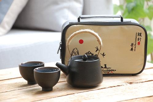 Czarny ceramiczny komplet do herbaty z etui