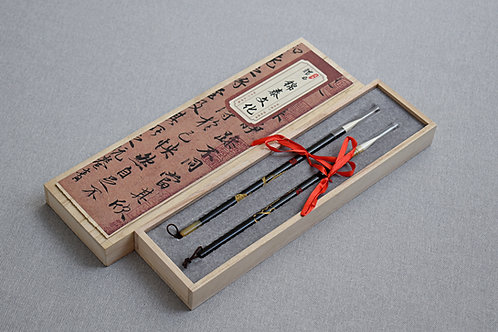 Zestaw 2 ozdobnych pędzli w drewnianym pudełku PREMIUM