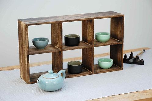 Chińska drewniana półka, szafka na ceramikę, herbatę II