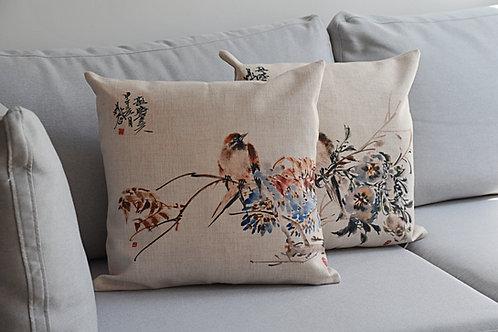 Ozdobna gruba poszewka na poduszkę chińskie motywy ptaków