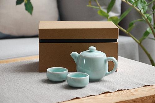 Celadonowy niebieski zestaw do herbaty
