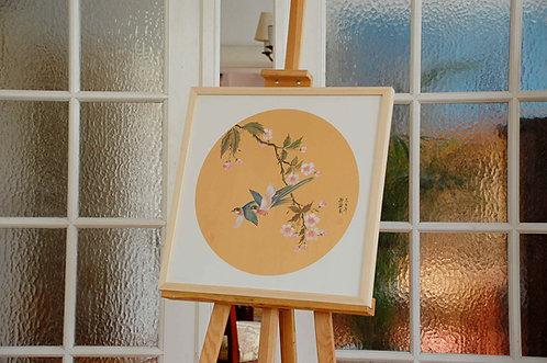 Chiński obraz ręcznie malowany GONGBI - Ptaki i kwiaty wiśni