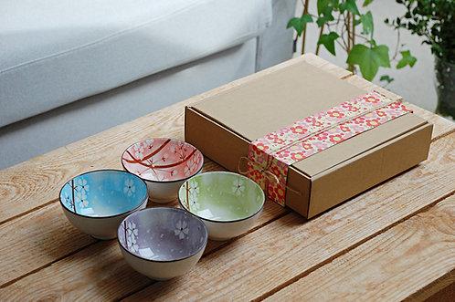 Zestaw 4 miseczek ceramicznych w stylu japońskim Wiśnia