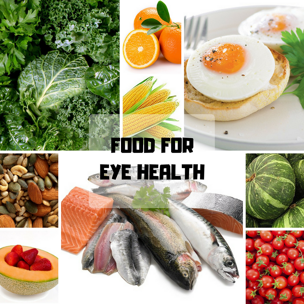 An array of healthy foods for healthy eyes. Eggs Corn Oranges Nuts seeds pumpkin fruits fish