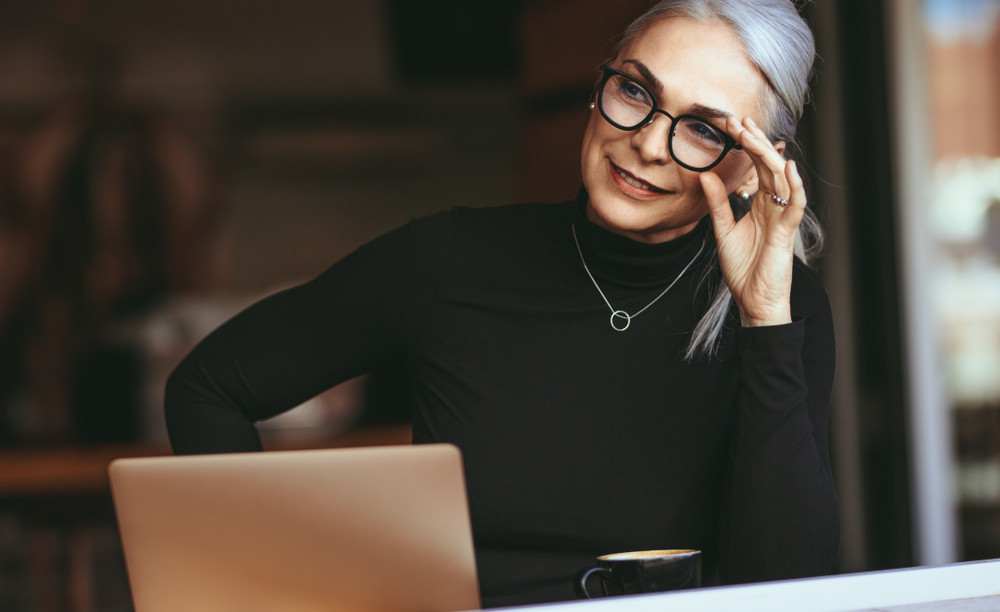 Beautiful Older Woman Wearing Glasses