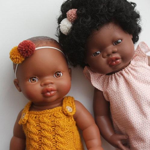 Пупс ONIL Origin 34cm Афро-девочка в горчичном ромпере