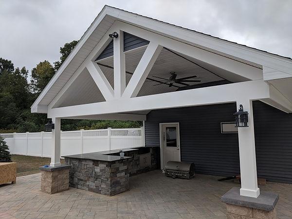 custom pool house stick builder azek trim granite countertop