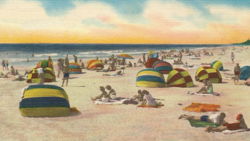 Winter Bathers on Gulf of Mexico (Holida