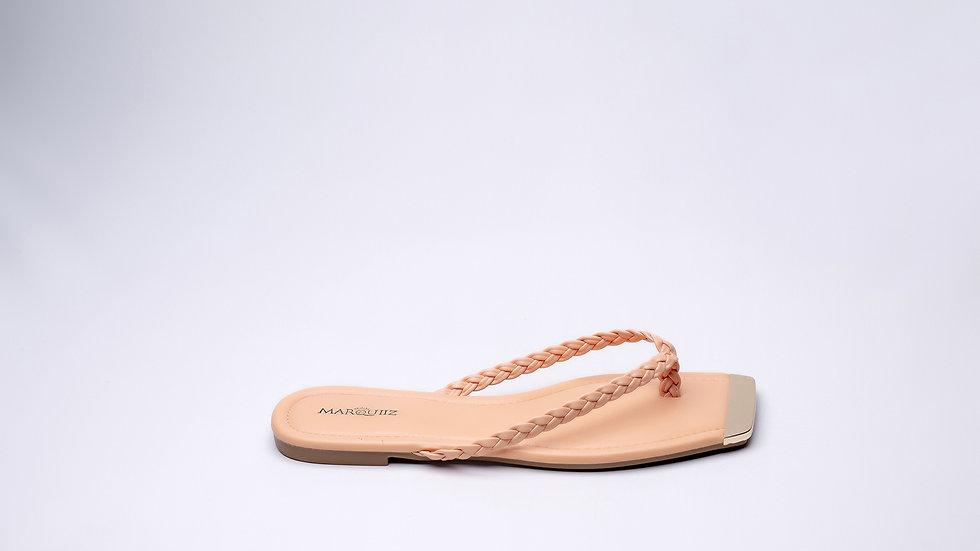 Sandales plate Nattée Orange bout carré Abidjan pas cher
