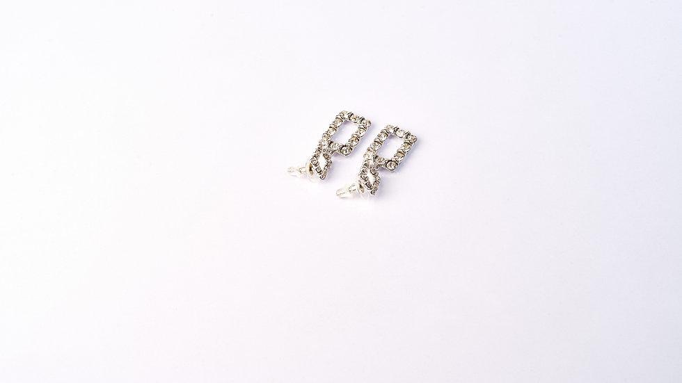 Boucles d'oreilles forme rectangle à pierre