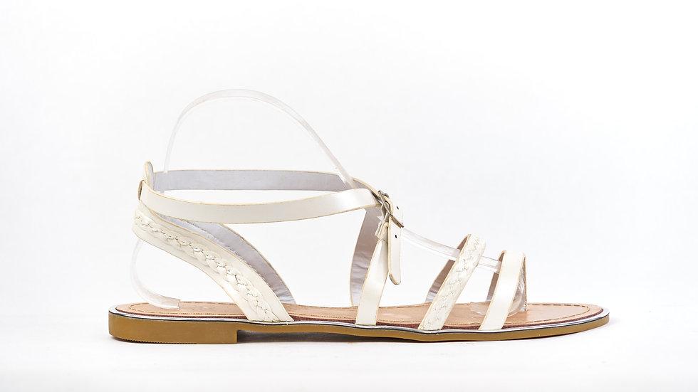 Sandale lanière blanche