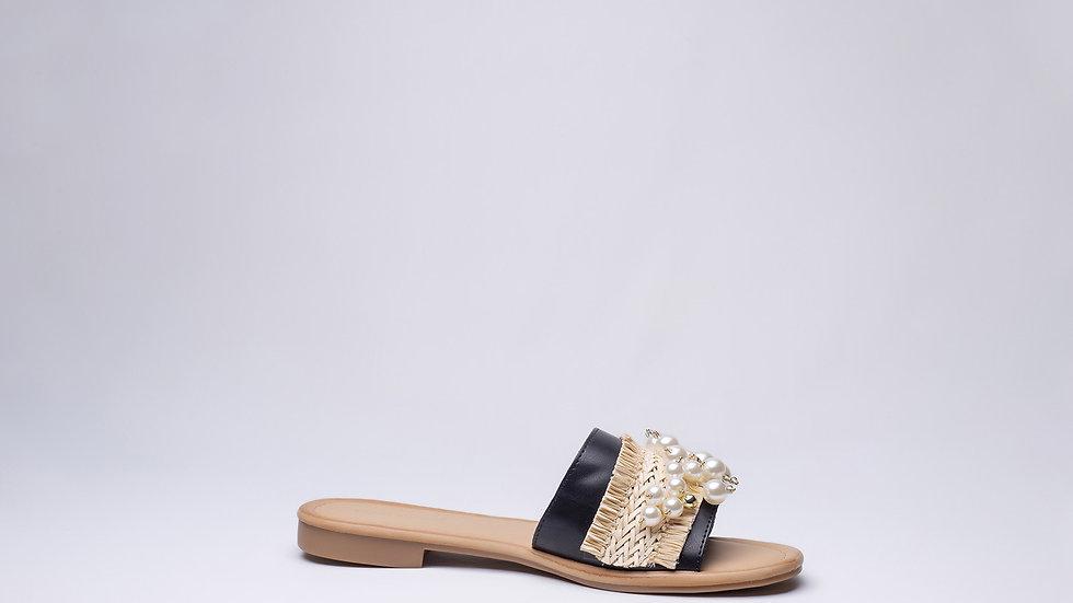 Sandales plates Beige avec perles rondes en Côte d'Ivoire
