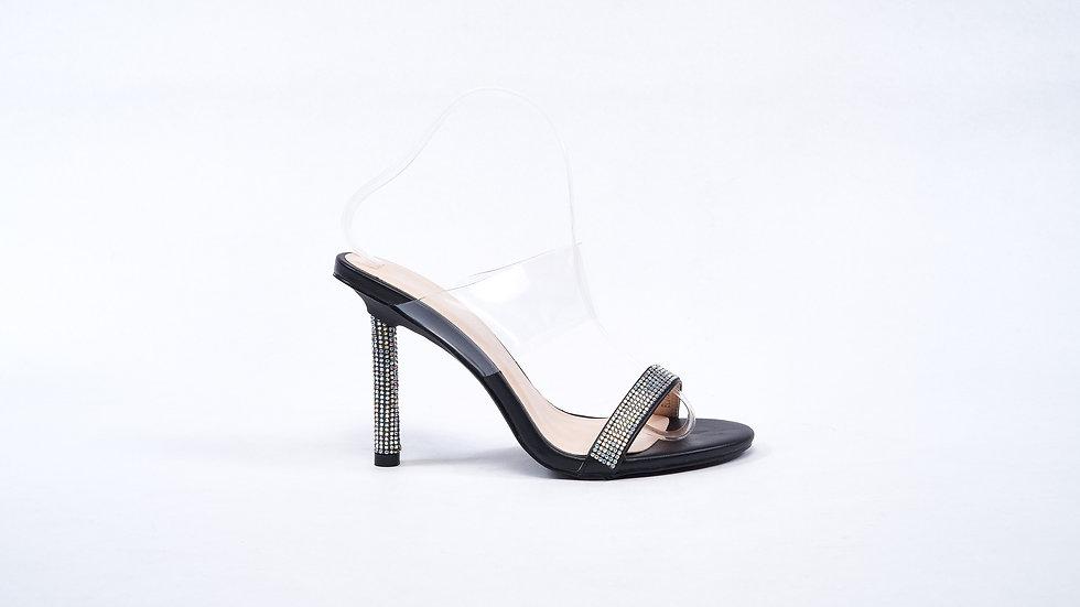 Sandales noires à strass pailletées