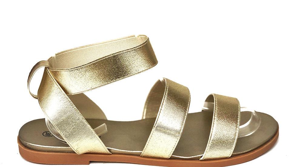 Sandales plates gold à bandes