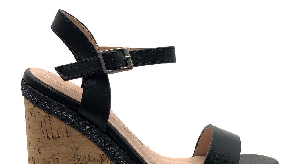 Sandales noire compensées à talon boisé