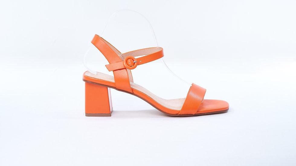 Sandales à talon métallisée orange