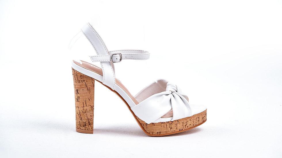 Sandales à talonavec nœud blanche