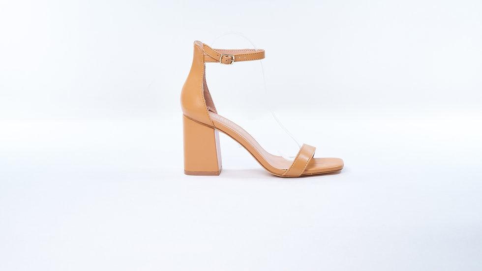 Sandales en similicuir lisse Camel