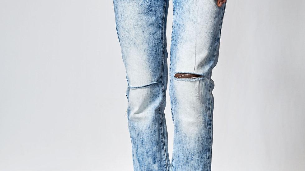 Jeans bleu dégradé homme déchiré au niveau du genou Abidjan