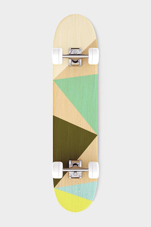 Brown green skateboard bottom with white wheels