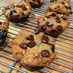 Paleo coconut blueberry chocolate muffins