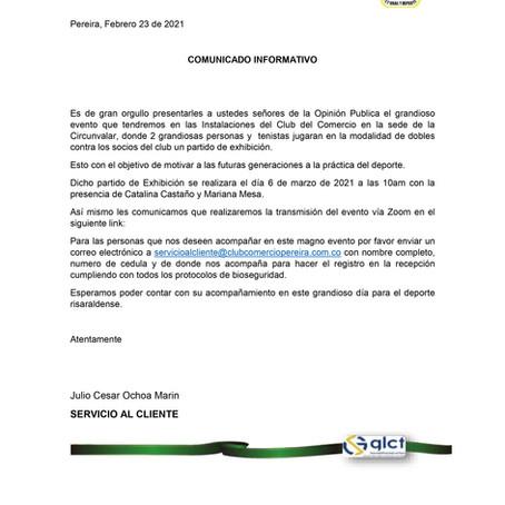Comunicado informativo del Club del Comercio de Pereira
