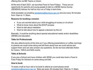 Send Advice Surrey - Face to Face Fridays