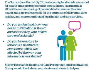 Patient insight to inform the content of Surrey Care Record public information video.