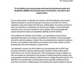 January DfE/DHSC MINISTERIAL LETTER