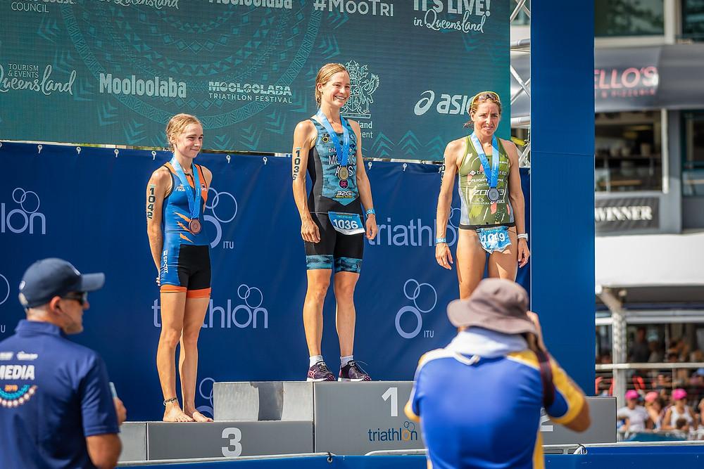Romy Wolstencroft, QUT with a podium result. Photo: QUT Sport