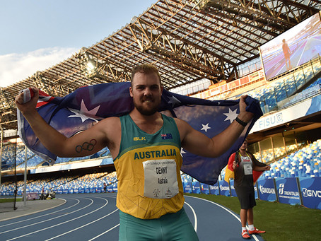 Five medal haul for athletics on final night in Naples and Denny feasts on discus gold.