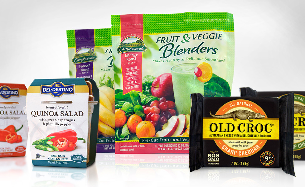 Zullo Agency in Princeton NJ Award Winning Packaging Design including Old Croc Cheese, Del Destino Quinoa Cups, and Campoverde Fruit & Veggie Blenders