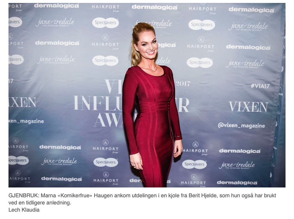 Marna «kimikerfrue» Haugen ankom utdelingen i en kjole fra Berit Hjelde